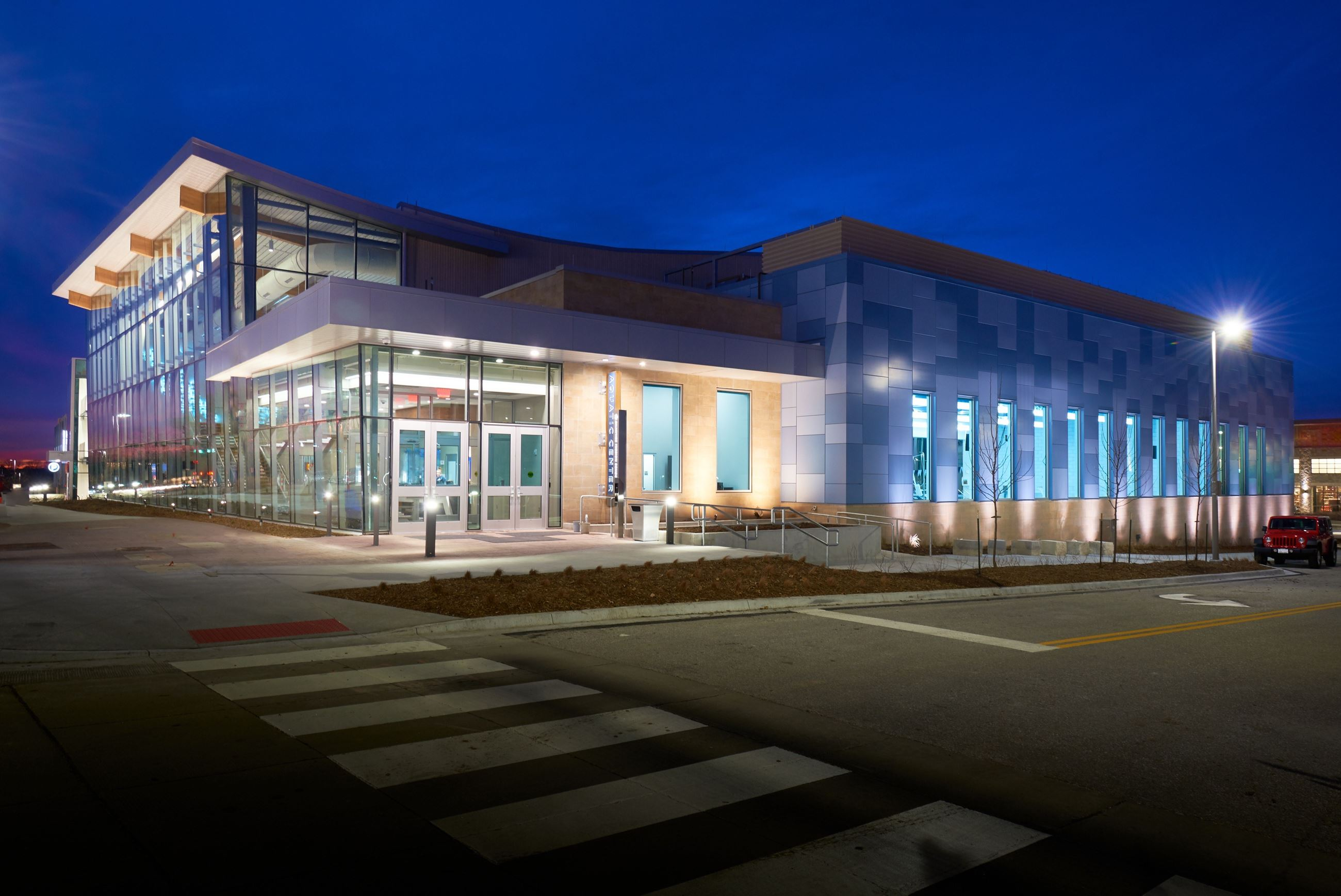 Shawnee Mission School District Aquatic Center - Picture of outside of building evening