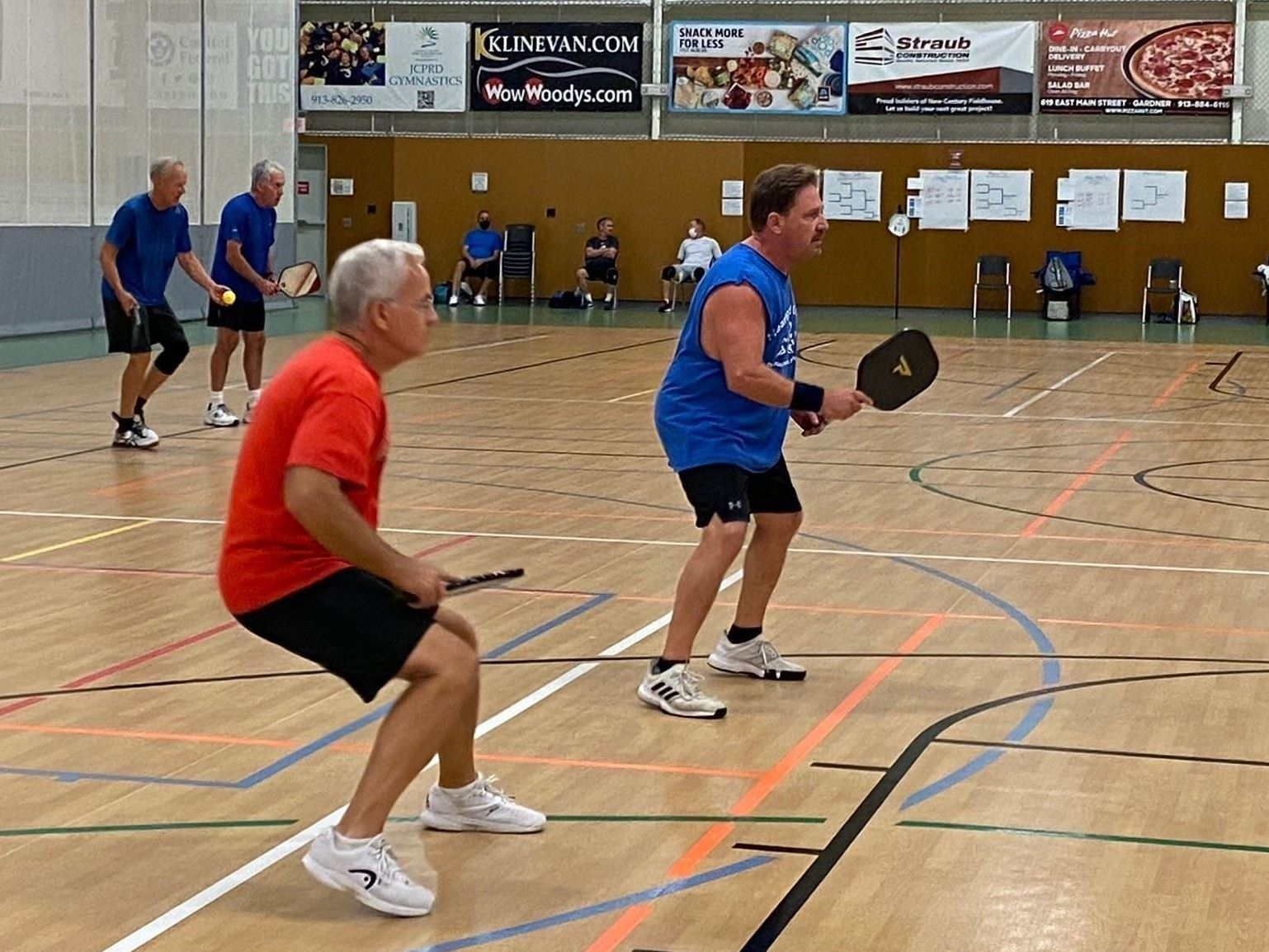 More male pickleball players at New Century Fieldhouse tournament