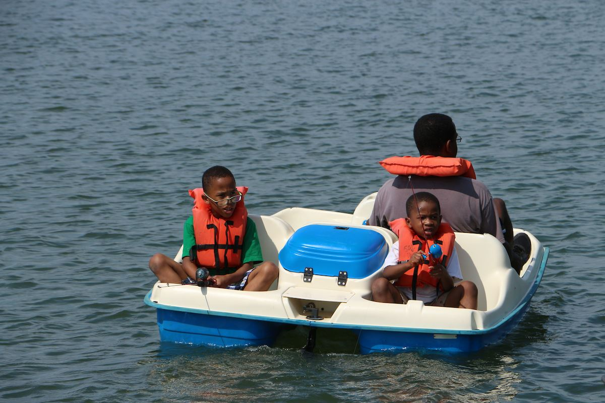 Peddle boats on Shawnee Mission Park lake