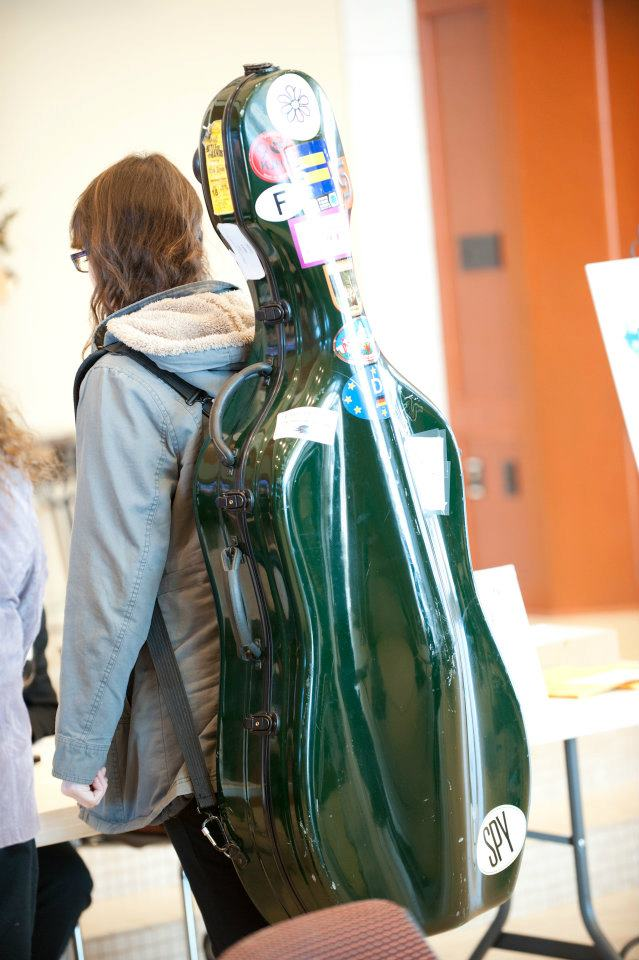 Student Musician carrying cello case