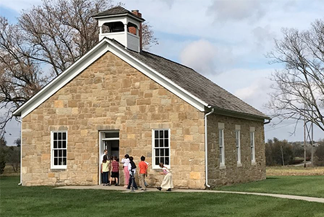 One story stone building Lanesfield Historic Site and One-Room Schoolhouse