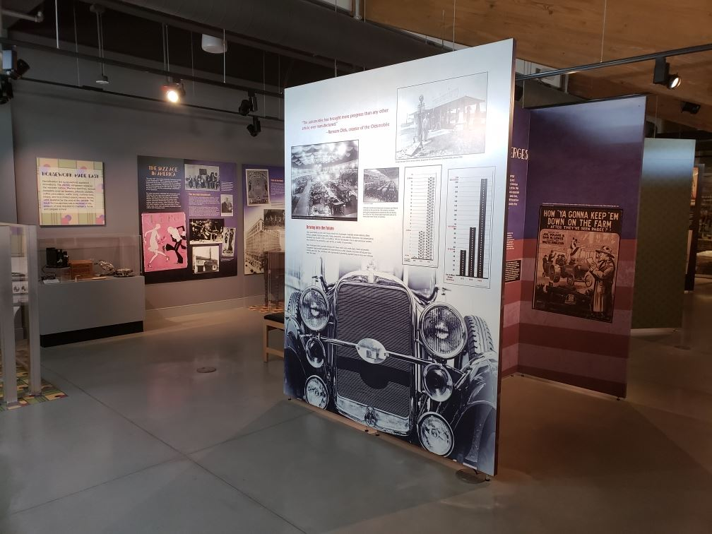 Image of the gallery installation of The Turbulent Twenties exhibit