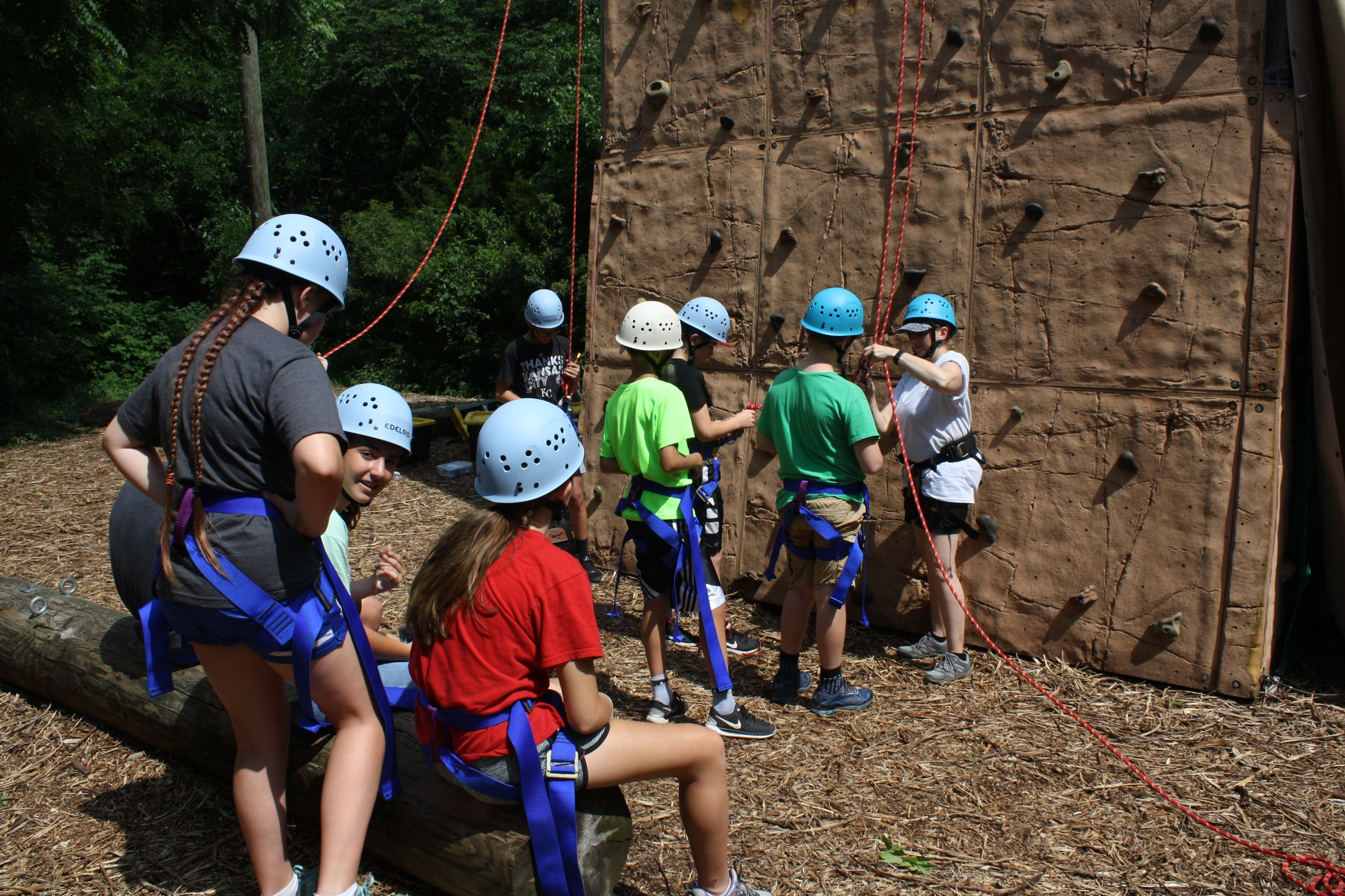 Group of kids at a climbing wall